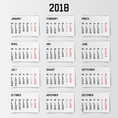 calendar 2018 banner stock vector 89094217