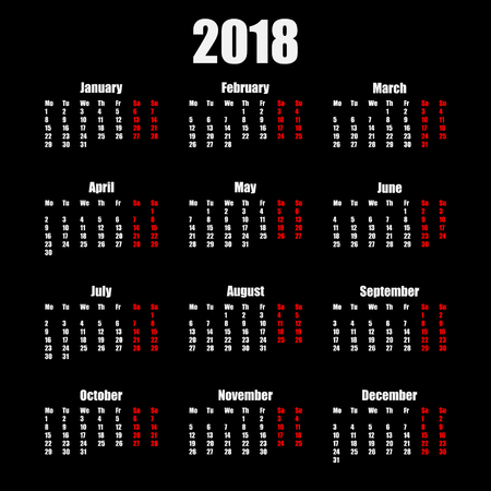 Calendar 2018 year simple style isolated on black background. Иллюстрация