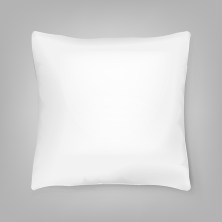 Blank white square pillow isolated on background.