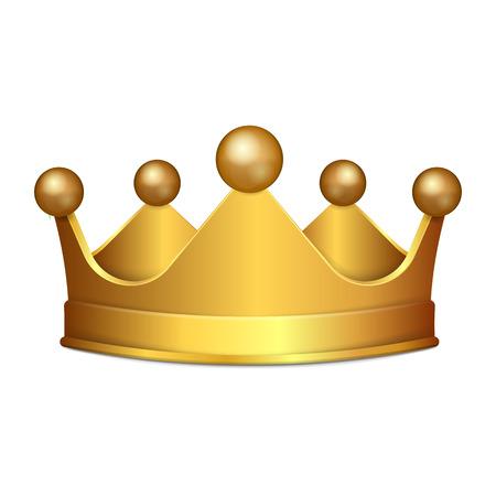 Realistische 3D-gouden kroon geïsoleerd op een witte achtergrond. Vector illustratie. Eps 10.
