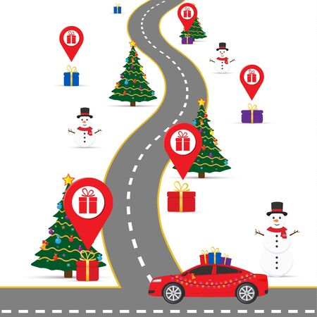 Christmas infographics template with a road and navigational pointers and a map with gift boxes. Eps 10.