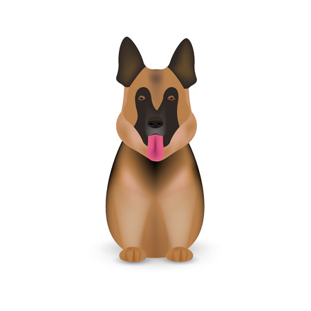 German shepherd dog isolated on white background. Vector illustration. Eps 10. Vettoriali