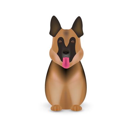 German shepherd dog isolated on white background. Vector illustration. Eps 10. Illustration
