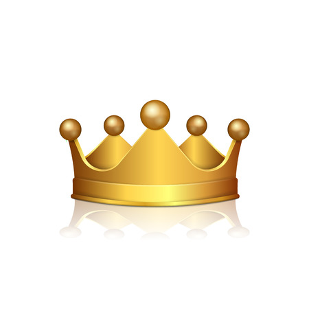 Realistic 3D Gold crown isolated on white background. Vector illustration. Eps 10.
