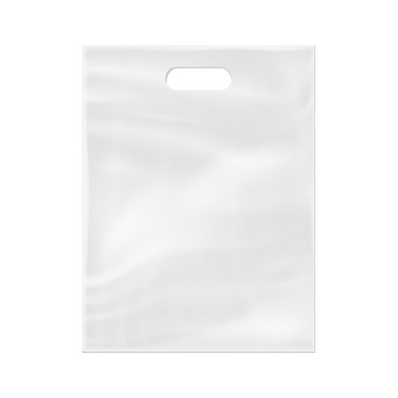 Realistic 3d plastic bag isolated on white background. Vector illustration. Eps 10.