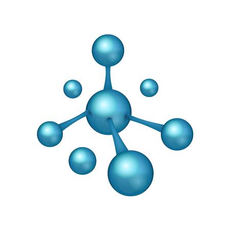 3D realistic Molecule icon. Dna sign. biotechnology logo. Vector illustration. Eps 10.