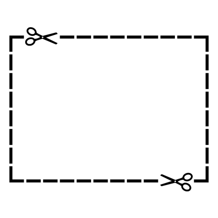 Cut out coupon rectangle shape with scissors. Vector illustration eps 10.