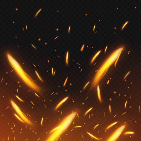 Fire sparks flying. Firestorm texture. Sparks charcoal. on transparent background. Vector illustration. Eps 10. Illustration