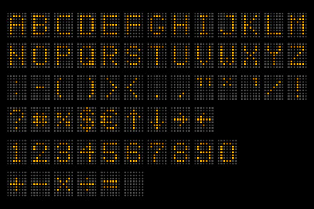 Led digital alphabet. Electronic number and alphabet digital display, letters and symbols. Digital terminal table led font, with grid. Vector illustration. Eps 10.  イラスト・ベクター素材