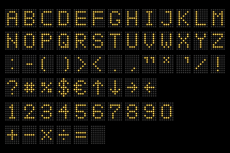 Led digital alphabet. Electronic number and alphabet digital display, letters and symbols. Digital terminal table led font, with grid. Vector illustration. Eps 10. Illustration