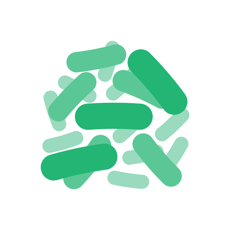 Green probiotics bacteria icon, logo isolated on white background. Vector illustration. Eps 10.