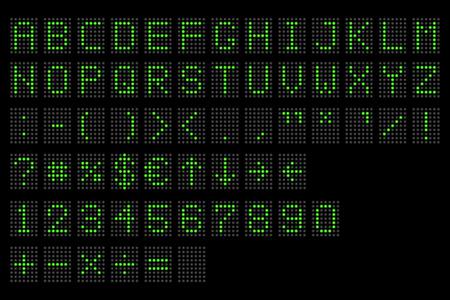 Led digital alphabet. Electronic number and alphabet digital display, letters and symbols. Digital terminal table led font, with grid. Vector illustration. Eps 10. Illustration