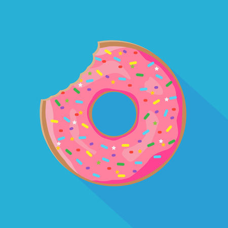 Donut with sprinkles isolated on white background. Vector illustration. Eps 10.