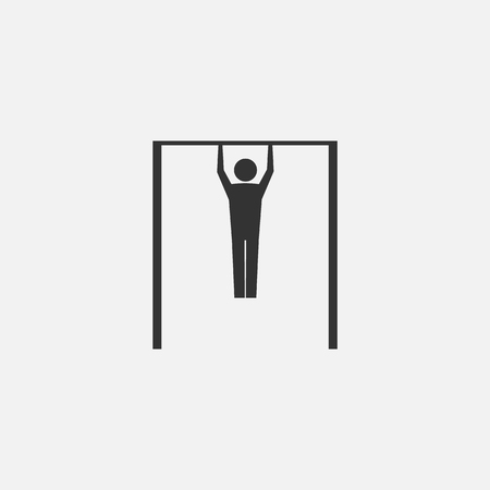 Man doing pull ups. Vector illustration. Eps 10.