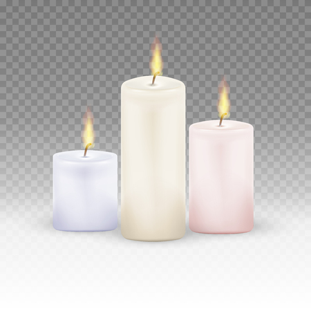 Burning candles set. Realistic Candles Flame Fire Light isolated on transparent background. Vector illustration. Eps 10.