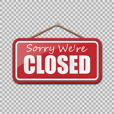 Closed Sign isolated on transparent background. Vector illustration. Eps 10.