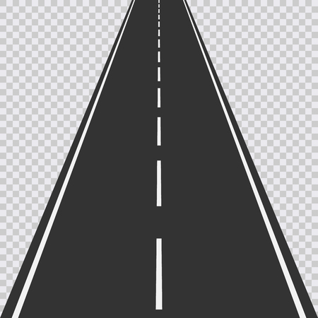 Straight road isolated on transparent background. Vector illustration. Eps 10.
