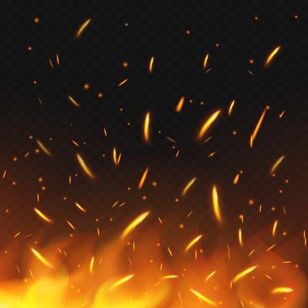 Fire sparks flying. Firestorm texture. Sparks charcoal. on transparent background. Vector illustration. Eps 10. Stock Illustratie