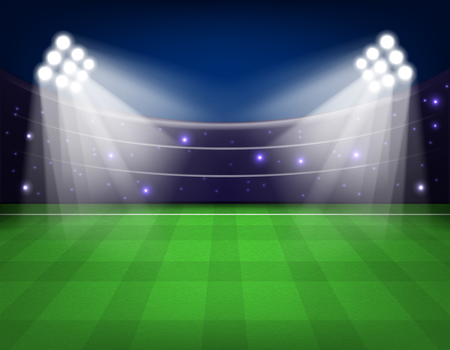 Soccer stadium with illumination, green grass and night sky Vector illustration. Eps 10.