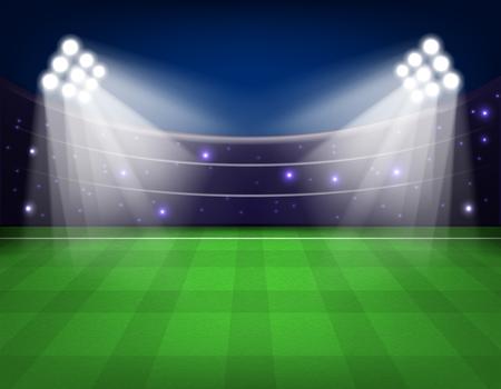 Soccer stadium with illumination, green grass and night sky Vector illustration. Eps 10.