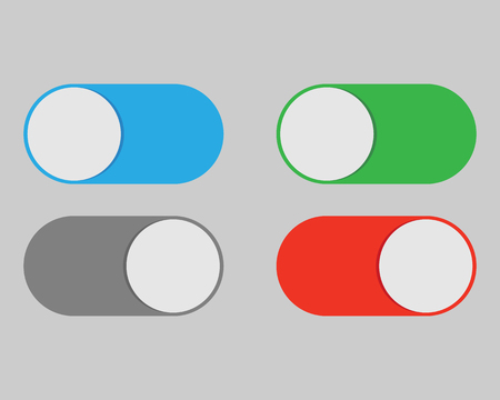 On and Off switch toggle isolated onbackground. Vector illustration. Eps 10. Иллюстрация