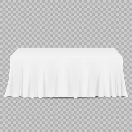 Tabelle mit Tischdecke lokalisiert auf einem transparenten Hintergrund. Vektorillustration. Eps 10.