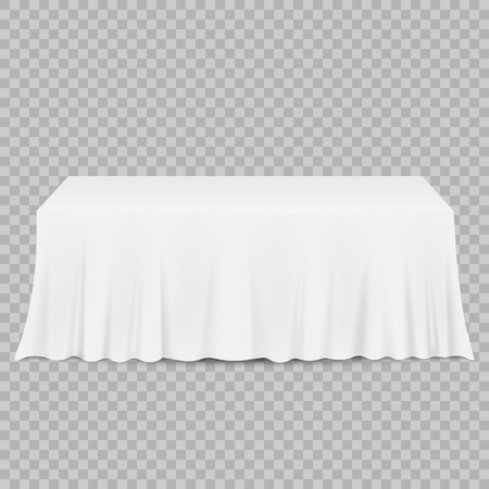 Table with tablecloth isolated on a transparent background. Vector illustration. Eps 10.
