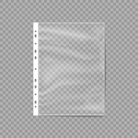 Empty Plastic Bag. Punched pocket. Business File. Sheet protector isolated on a transparent background. Vector illustration. Eps 10.