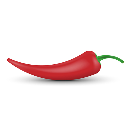 Realistic chili peppers isolated on a twhite background. Vector illustration. Eps 10.