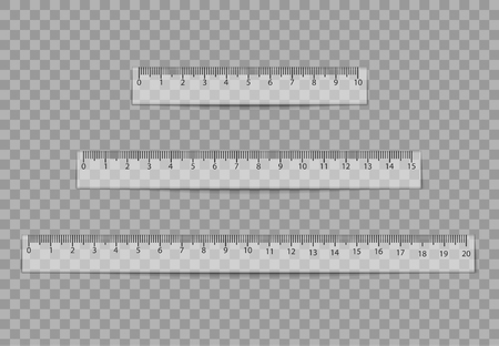 Realistic ruler set isolated on transparent background. Vector illustration. Eps 10. Illustration