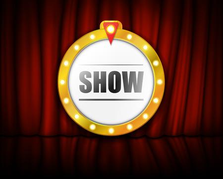 Theater sign on curtain with spotlight. Vector illustration. Eps 10.