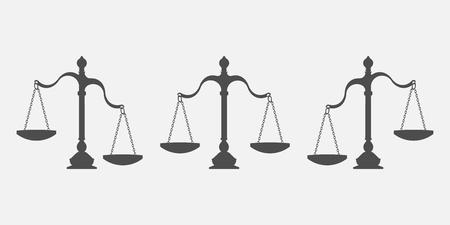 Set of scales balance isolated on white background. Vector illustration. Eps 10. Illustration
