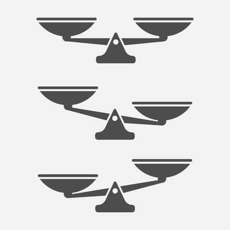 Satz Waagenwaage lokalisiert auf weißem Hintergrund. Vektorillustration. Eps 10.