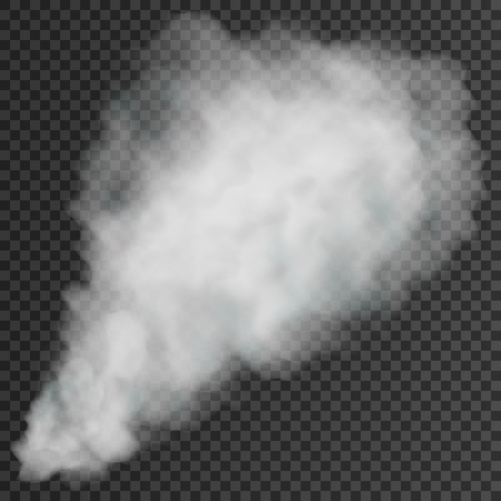 White smoke puff isolated on transparent background. Vector illustration. Eps 10.