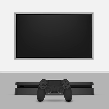 Game console with joystick and tv isolated on white background. Vector illustration. Eps 10. Illustration