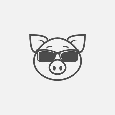 Pig in sunglasses icon isolated on white background. Vector illustration. Eps 10. Ilustração