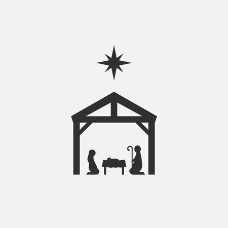 Birth of Christ, Silhouette of Mary, Joseph and Jesus isolated on white background. Vector illustration. Eps 10.