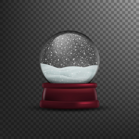 Christmas snow globe Isolated on transparent background. Vector illustration, eps 10. Ilustração