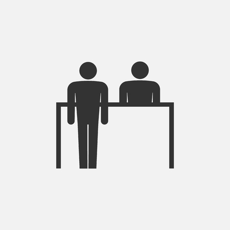 Customer service desk icon isolated on white background. Vector illustration.