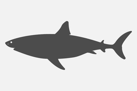Black silhouette shark isolated on white background. Vector illustration. Eps 10. Ilustração
