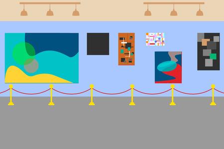 Art museum of modern painting. Vector illustration. Vektorové ilustrace