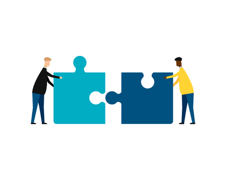 Business concept. Teamwork metaphor. Two businessmen connecting puzzle elements. isolated on white background. Vector illustration. Eps 10. Imagens - 126507073