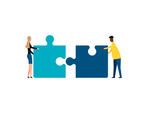 Business concept. Teamwork metaphor. Two businessmen connecting puzzle elements. isolated on white background. Vector illustration. Eps 10. Ilustração