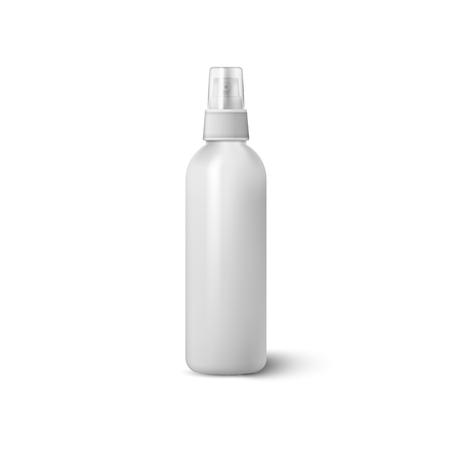 Spruzzo della bottiglia isolato su priorità bassa bianca. Illustrazione vettoriale. Vettoriali