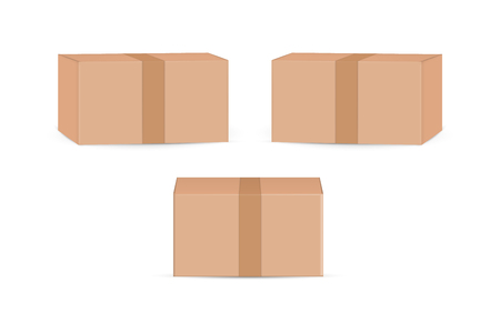 cardboard package boxes mockup isolated on white background. Vector illustration. Eps 10. Ilustração