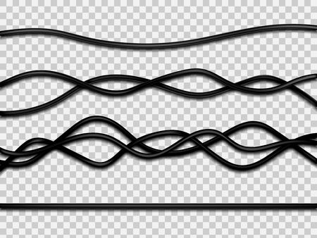 Realistic electrical wires isolated on white background. Vector illustration. Eps 10. Ilustração
