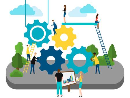 Concept of Teamwork, people building gear wheels. isolated on white background. Vector illustration. Eps 10. Ilustração
