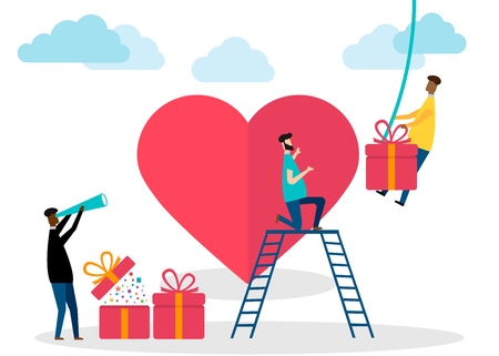Valentines Day, teamwork concept isolated on white background. Vector illustration. Eps 10