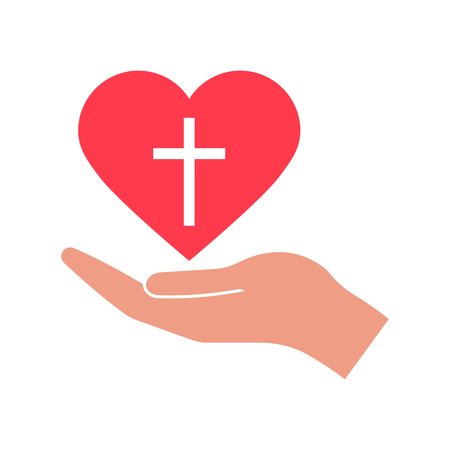 Jesus love sign. Heart and hand icon isolated on white background. Vector illustration. Çizim