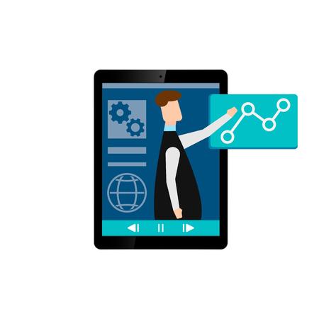 Online learning. E-learning webinar presentation concept. teacher businessman. Flat design isolated on white background. Vector illustration. Eps 10. Ilustração